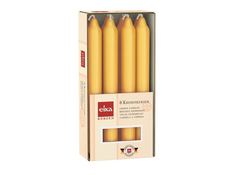 80 Stabkerzen 180x21,3 mm gelb im 8er Pack von Eika Kerzen Kronenkerzen