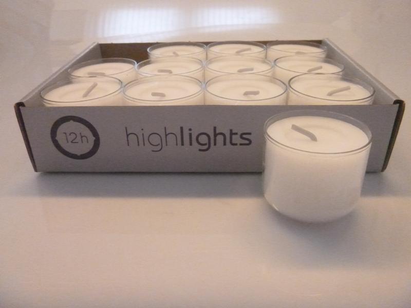 12 teelichter im acryl cup transparent wei 12 std brenndauer highlights wenzel ebay. Black Bedroom Furniture Sets. Home Design Ideas